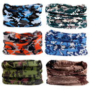 6PCS Outdoor Magic Headbands Headwear for Men and Women Sport Seamless Bandana Tube Scarf for Running Yoga Work Out UV Resistence