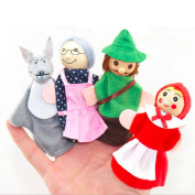 4Pcs Kids Little Red Riding Hood Finger Puppets Baby Plush Educational Toys