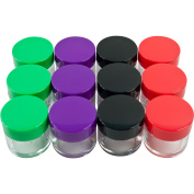 12pc 20ml Clear Storage Jars Coloured Lids by Stalwart