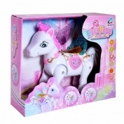 Elves horse animal world battery operated walking, light, music toy pink