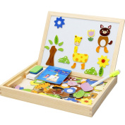 Puzzle Wooden Children Learning Education Multifunctional Magnetic Animal Drawing Board Kids Toys