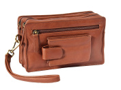 Mens Soft Leather Wrist Bag BROWN Travel Mobile Money Clutch Pouch Grab Handbag - A33