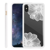 iPhone X Case NEEDOON Ultra-thin Plastic Transparent Flower Print Anti-scratch Protective Cover,15cm ,F