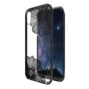 iPhone X Case NEEDOON Ultra-thin Plastic Transparent Flower Print Anti-scratch Protective Cover,15cm ,B