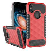 NEEDOON 2 in 1 iPhone X Case Dual Layer Slim Protective Textured Cover Secure Heavy Duty Protection for 5.8,Red