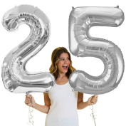 90cm Giant Silver 25th Birthday Helium Quality Foil Mylar Balloon - Birthday Decorations & Supplies - Silver