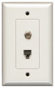 PHONE JACK AND F CONNECTOR WALL PLATE WHITE