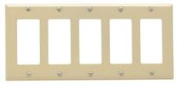 DECO 5 GANG WALL PLATE IVORY