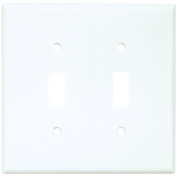 Cooper 2039W White Two Gang Toggle Light Switch Wall Plate