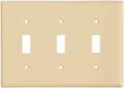 Cooper 5141V Ivory Unbreakable Three Gang Toggle Light Switch Wall Plate