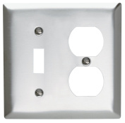 Pass and Seymour SS18-D Non-Magnetic Stainless Steel Combination Two Gang One Toggle One Duplex Receptacle Wall Plate