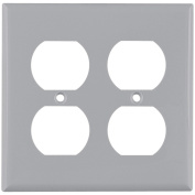 Cooper 5150GY Grey Unbreakable Two Gang Duplex Receptacle Wall Plate