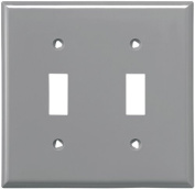 Cooper 5139GY Grey Unbreakable Two Gang Toggle Light Switch Wall Plate