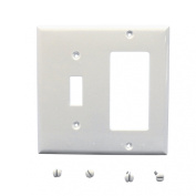 Cooper 5153W White Unbreakable Two Gang One Toggle One Decorator Combination Wall Plate