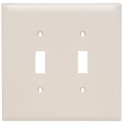 Jumbo Wall Plate With Two Toggle Switch Openings, Two Gang, Light Almond TPJ2-LA