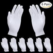 SevenMye 6 Pairs Moisturising Gloves Thicker Cotton White Gloves Cosmetic Moisturising Gloves Hand Spa Gloves Moisture Enhancing Gloves