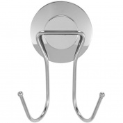 Everloc Push N' Loc Suction Cup Double Hook with Chrome Cover