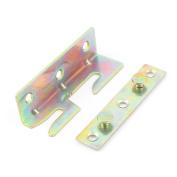 Furniture Wood Bed Rail Hook Metal Fasteners 80x25x25mm Brass Tone