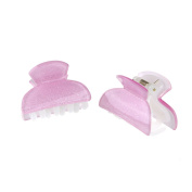 Girls Cute a pair of Shiny Glitter Effect 4cm Hair Grip Claws, Baby Pink