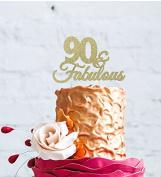 90 & Fabulous - 90th Birthday Cake Topper - Swirly - Glitter Gold