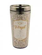 PRINTED STAINLESS STEEL TRAVEL MUG 450ml - Don't Forget To Smile