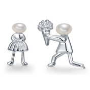 "Freshwater Pearl ""Marry Me"" Propose Stud Earrings 925 Sterling Silver for Women Girls Novelty Gifts Unusual"