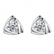 Lorina CZ Triangle Stud Earrings 925 Sterling Silver for Women Girls Kids Christmas Gifts