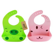 iZiv 2 PACK Waterproof Silicone Bib Drool Easily Wipes Clean with Adjustable Snaps 0-3 Years