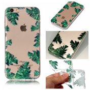 iPhone 6 Case, iPhone 6S Cover, BONROY® Ultra-Thin Transparent Soft Gel TPU Silicone Case For iPhone 6 6S, Perfect Fit Slim Sturdy Bumper Scratch Resist Protective Clear Cute Creative Pattern Case Cover for iPhone 6 6S - Banana Leaves