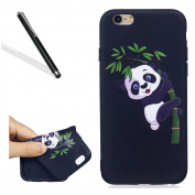 Silicone Case for iPhone 6S,Ultrathin Soft Back Case for iPhone 6,Leeook Cool Funny Cute Panda Bamboo Painted Soft Gel Slim Fit Flexible Scratch-Resistant Rubber Tpu Protective Bumper Back Cover Case Shell for iPhone 6/6S 12cm + 1 x Free Black Stylus-P ..