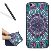 Silicone Case for iPhone 6S,Ultrathin Soft Back Case for iPhone 6,Leeook Cool Black Pretty Retro Colourful Mandala Flower Painted Soft Gel Slim Fit Flexible Scratch-Resistant Rubber Tpu Protective Bumper Back Cover Case Shell for iPhone 6/6S 12cm + 1 x ..