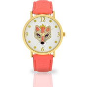 Women's Coral Fox Dial Watch, Faux Leather Band