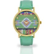 Women's Mint Aztec Watch, Faux Leather Band