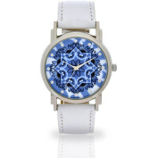 Women's White Flower Dial Watch, Faux Leather Band