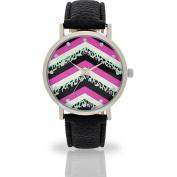 Women's Black Chevron Watch, Faux Leather Band