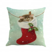 Elogoog Christmas Printing Dyeing Sofa Bed Home Decor Pillow Cover Cushion Cover 46cm x 46cm