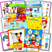 Disney Learning Phonics Box Set -- 4 Learn to Read Books, 2 Learn to Write Activity Books, 24 Jumbo Flash Cards