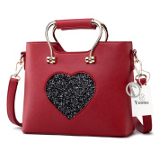 Yoome Satchel Handbags For Women Tote Purses Leather Elegant Bags Makeup Pouch Bag Casual Bags - Burgundy