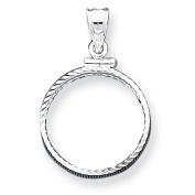 Sterling Silver 21.1 x 2mm $0.05 Diamond Cut Coin Bezel Pendant