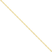 14K Yellow Gold 1.60mm Singapore Chain Anklet - Fine Jewellery Gift