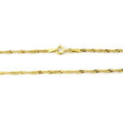 """10k Yellow Gold 2.3mm Singapore Chain Adjustable Anklet, 9""""-10"""""""