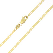 """Solid 14k Yellow Gold 1.7mm Mariner Chain Anklet, 10"""""""