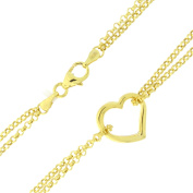 10k Yellow Gold Double Chain Heart Anklet - 25cm