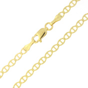 """Solid 14k Yellow Gold 3.0mm Mariner Chain Anklet, 10"""""""