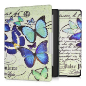 kwmobile Elegant synthetic leather case for the Kobo Aura H2O Edition 1 Design butterflies vintage in blue mint beige