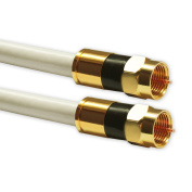 3 M Satellite Cable Coaxial Digital Maximum Inner Conductor Copper 135 dB with F Compression Plug Gilded