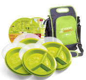 Precise Portions Go-Healthy Store n Go Travel Combo Pack - 4 Snap-Tight Travel Plates, 4 Lids & A Lunch Bag
