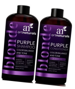 ArtNaturals Purple Shampoo and Conditioner Set – (470ml x 2) – Protects, Balances and Tones – Bleached, Colour Treated, Silver and Blonde Hair
