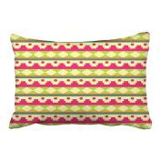 Emvency Decorative Throw Pillowcase Queen 50cm x 80cm Colourful Tribal Patterns Pink Green Dots Stripes Cotton Pillow Cover With Hidden Zipper Decor Cushion