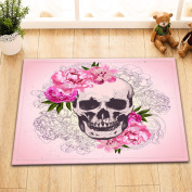 Halloween Skull Rose Mexico Gang Tatoo Decor Stylish Bath Rugs 3D Digital Printing 41cm x 60cm Customised Personality Peach Pink Woman Portrait Sketch Outdoor Indoor Front Door Mat Non-slip Bath Mat
